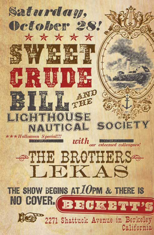 Concert poster for Sweet Crude Bill, made with fonts from the Wild West Press font set