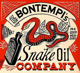 A poster design for Marcel Bontempis Snake Oil Show using Tivadar and other fonts from the Victorian Printshop font set