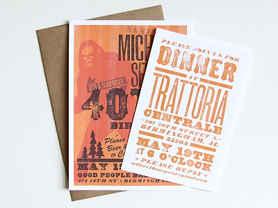 Invitations and menus with fonts from the Wild West Press font set