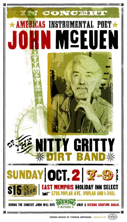 A concert poster for John McEuen and the Nitty Gritty Dirt Band made with fonts from the Wild West Press font set