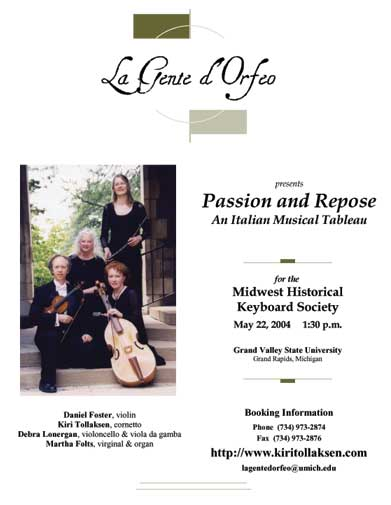 A concert program ade with Renaissance and William Shakespear style fonts from the Divers Handes font set