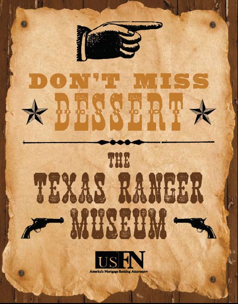 Event flyer for the Texas Ranger museum, featuring the Wildwash from the Wild West Press font set