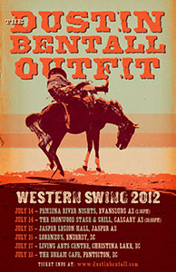 Muleshoe font is used in a concert poster by Mitch Morris