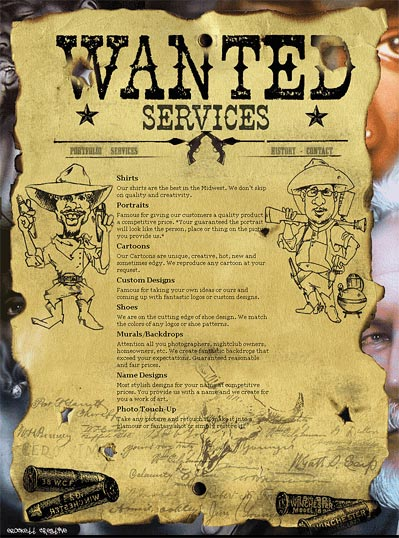 "A ""Wanted"" poster made with fonts from the Wild West Press font set"