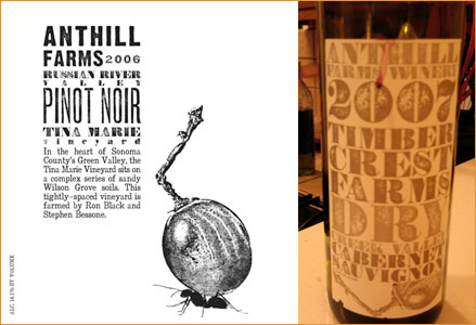 A wine label design made with Bullion, a font from the Wild West Press font set