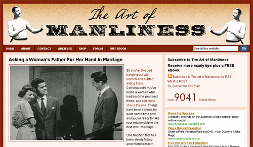 Web page design for the Art of Manliness website featuring fonts from the Wild West Press font set