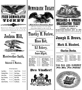 reproduction ballot slips made with fonts and images from the Civil War Press font set