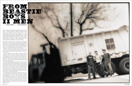 A spread from Mass Appeal magazine showing an article about the Beastie Boys, and made with Ashwood Extra Bold, a font from the Wild West Press font set.