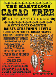 Cacao Tree advertising poster, made with fonts from the Wild West Press font set