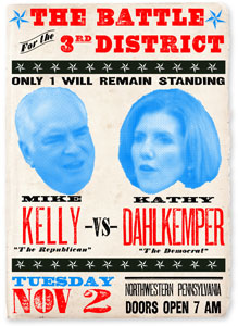An election poster made with fonts from the Wild West Press font set