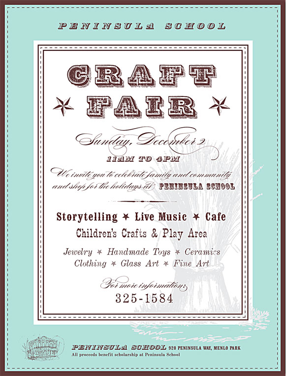 Craft Fair flyer made with fonts from the Wild West Press font set