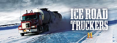 A promotional piece for the History Channel Ice Road Truckers show with Ashwood condensed font from the Wild West Press font set