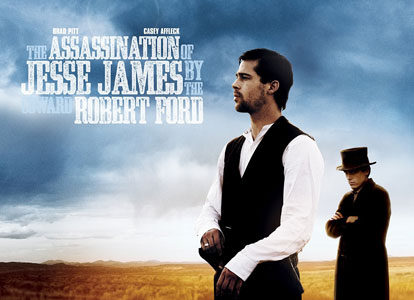 A movie poster for the outlaw jesse james with Brad Pitt featuring the Ashwood Condensed font from the Wild West Press font set