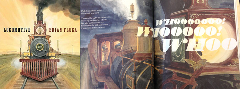The cover of Locomotive, a childrens book that features several fonts from the Wild West Press font set