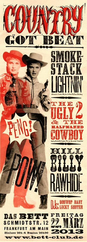 A concert poster using fonts from the Wild West Press font set