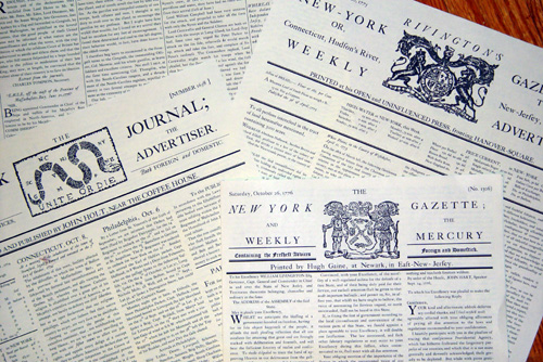 Colonial reproduction newspapers made with fonts from the Minuteman Printshop font set