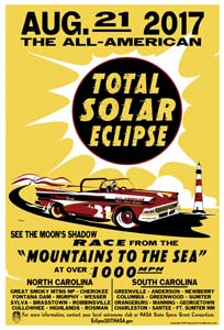 A poster for the Great American Eclipse features the Dickie WF font from the American Poster Fonts collection