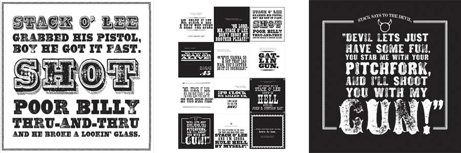 A wonderful typographical study with images and fonts from the Wild West Press