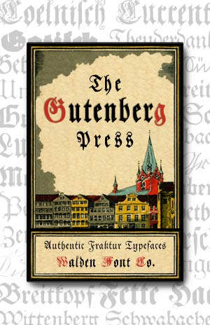 Cover art for the Gutenberg Press set of authentic German Fraktur fonts and clip art