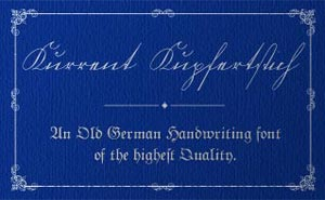 Cover art for the Kurrent Kupferstich authentic German script font