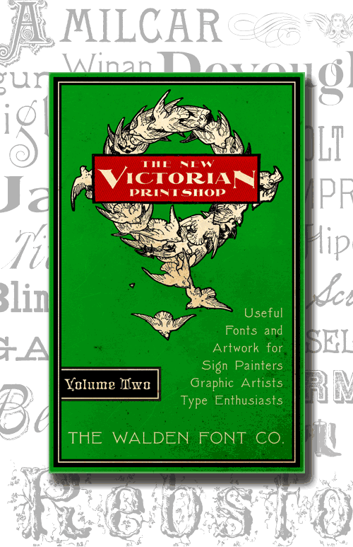 Header image for the New Victorian Printshop font set, volume two