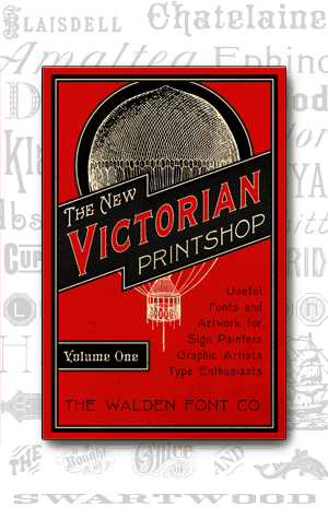 Cover art for volume 1 of the New Victorian Printshop font set of victorian fonts