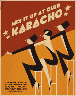 An event poster that uses the Karacho font from the Kraftwerk Press font set