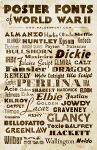 A poster showing all the fonts in American Poster Fonts of World War II font set