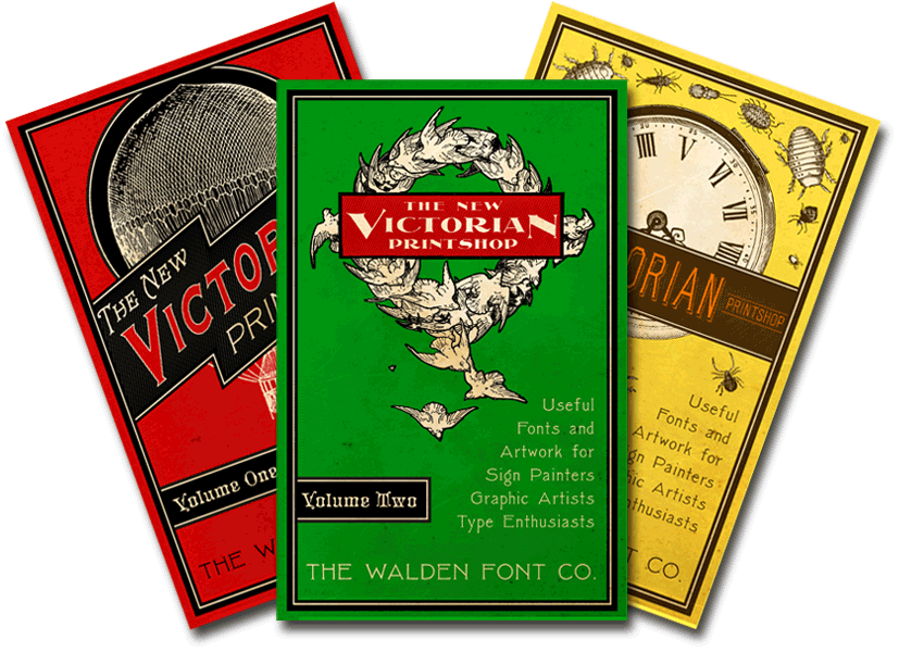 Header image for the New Victorian Printshop font set